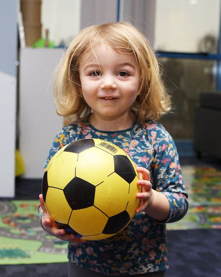 Hatfield Connect Reopening - Flora Hoxha, 2, plays with the football.Picture: Karyn Haddon