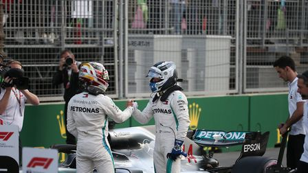 Lewis Hamilton and Valtteri Bottas after qualifying second and third for the 2018 Azerbaijan Grand P