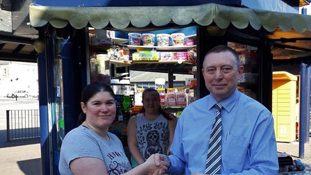 Kevin Smith welcomes Sweeties of Wisbech to the Horsefair. (Right to Left: Joanna Warren, business o