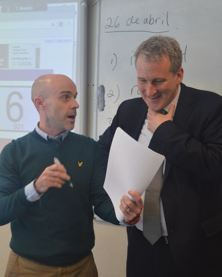 Secretary of State for Education Damian Hinds gets a Spanish lesson. Picture: supplied by Dame Alice