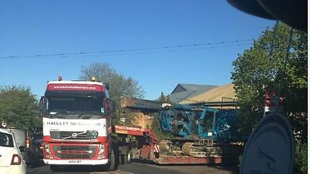 The trapped lorry in Welham Green.