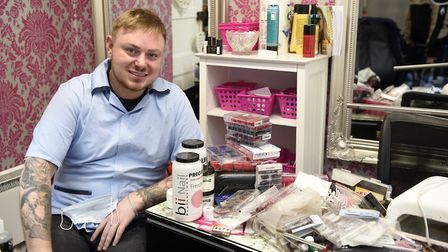 Jamie Greenwood with nail products that are going to Ghana