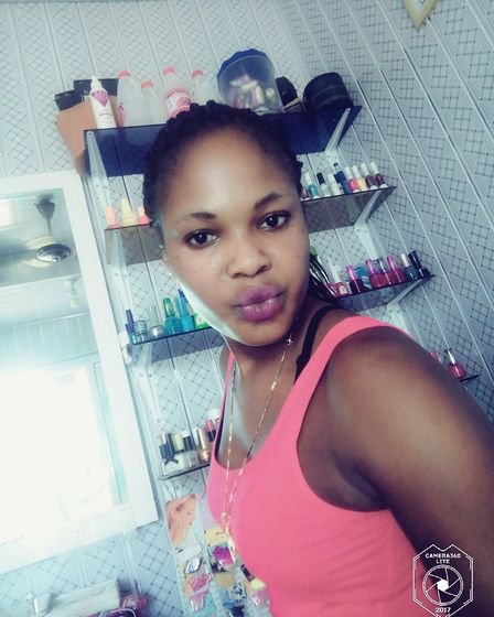 Lydia Agbeko's beauty salon taht she runs out of a storage container in Ghana