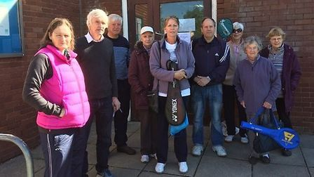 Residents outside Panshanger Community Centre. Picture: Diana Walsh.