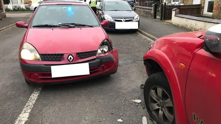 A man has been arrested on suspicion of drink driving after a car crash in Wisbech. PHOTO: Twitter /
