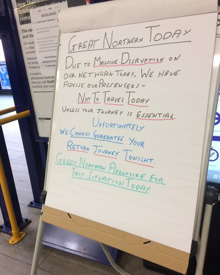 """A sign at Stevenage train station yesterday (May 26) advising people """"not to travel"""". Picture: Dan W"""