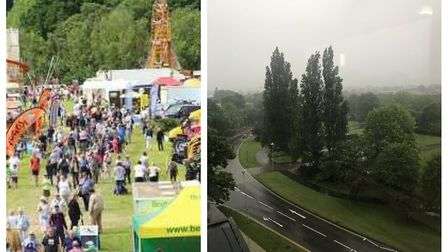 The dramatic weather change from the weekend at Herts County Show to today in Welwyn Garden City. Pi