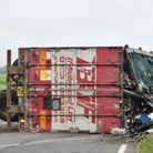The A47 is closed in both directions after a lorry crashed and overturned close to the Walton Highwa