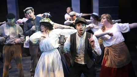 The cast of My Fair Lady on stage at the Wisbech Angles Theatre. PHOTO: Ian Carter.