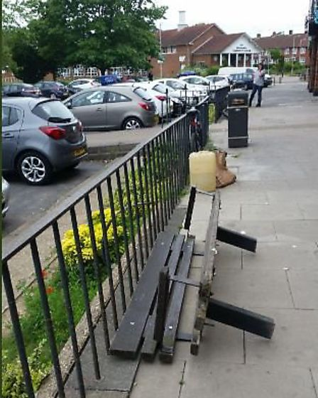Four benches have been removed at Woodhall Shopping Parade. Picture: supplied