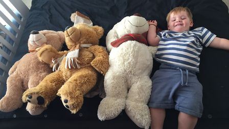 Tommy with his teddies. Picture: Jo-Ann Cousins.