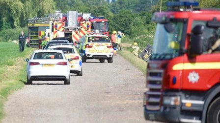Roads closed in Wisbech after ditch crash at First Marsh Road.