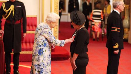 Mrs Anita Grodkiewicz from Outwell is made an MBE (Member of the Order of the British Empire) by Que