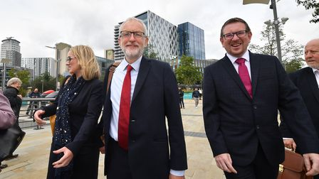 Labour Party leader Jeremy Corbyn walks with members of his shadow cabinet (from left) Shadow Busine