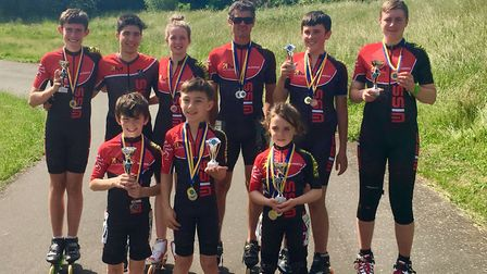 Wisbech Inline Speed Skaters team photo, from left to right, back row: Warren Eve, Tiago Fougo, Lucy
