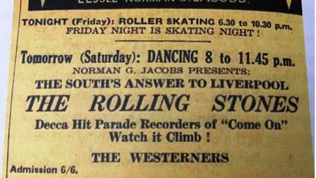 The Rolling Stones at the Corn Exchange,Wisbech 20th July 1963. This is the advert that appeared in