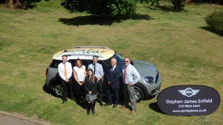 The MINI Team from Stephen James Enfield, with Mr Baker, Headteacher and Mr McCarthy, Head of ADT. P