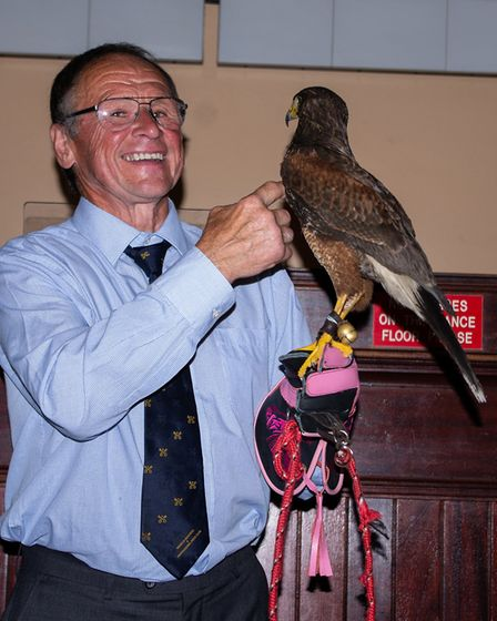 Wisbech Business and Professional Mens Club joined by a Harris Hawk at meeting at Mendis
