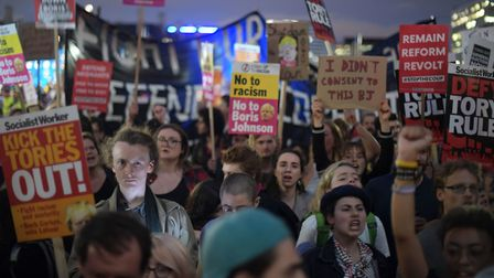Brexit protesters in Westminster, London, as MPs are taking part in an emergency debate over a new l