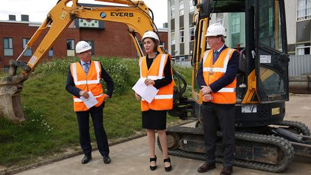 Dame Alice Owen head Hannah Nemko officially starts the breaking ground ceremony. Picture: DANNY LOO