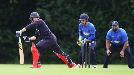 Potters Bar CC V Bishop's Stortford - Potters Bar wicket keeper Callum Baylis gets ready to pounce o