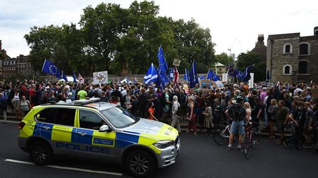 Protesters outside the Houses of Parliament, London, to demonstrate against Prime Minister Boris Joh