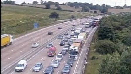 M25 traffic near Junction 24 for Potters Bar. Picture: Highways England.