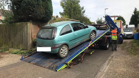 A Vauxhall Corsa (pictured) has been seized after it was spotted driving though Wisbech Park while f