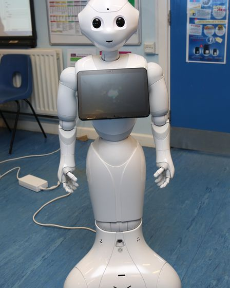 Stanborough School year 10 computer science group pupils take part in a robotics workshop run by the