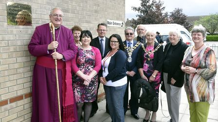 Bishop of Ely, Rt Reverend Stephen Conway, unveiling the plaque at Orchards Church of England Academ