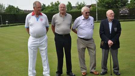Left to right: John Fox, treasurer and greenkeeper, Terry Semper, Peter Haddon and Terry Slade.