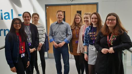 MP Grant Shapps with pupils at Bishop's Hatfield Girls' School. Picture: Mr Shapps' office.