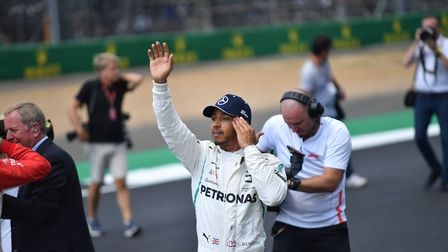 Lewis Hamilton celebrates pole position in qualifying for the 2018 British Grand Prix at Silverstone