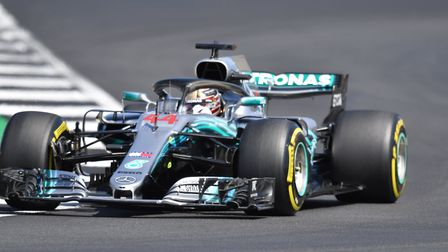 Lewis Hamilton driving in final practice at Silverstone ahead of the 2018 British Grand Prix. Pictur