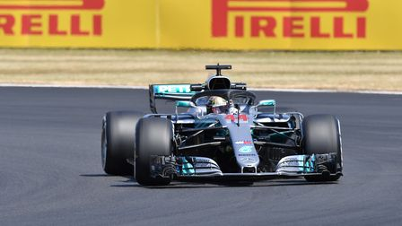Lewis Hamilton on track at Silverstone ahead of the 2018 British Grand Prix. Picture: Sean Ramsell.