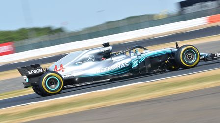 Lewis Hamilton on track at Silverstone ahead of the 2018 British Grand Prix. Picture: Sean Ramsell