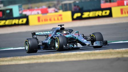 Lewis Hamilton on track in the 2018 British Grand Prix at Silverstone. Picture: Sean Ramsell.