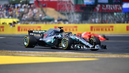 Lewis Hamilton on the formation lap at the 2018 British Grand Prix at Silverstone. Picture: Sean Ram