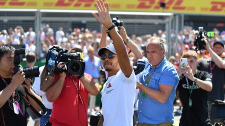 Lewis Hamilton waves to the crowd ahead of the 2018 British Grand Prix at Silverstone. Picture: Sean