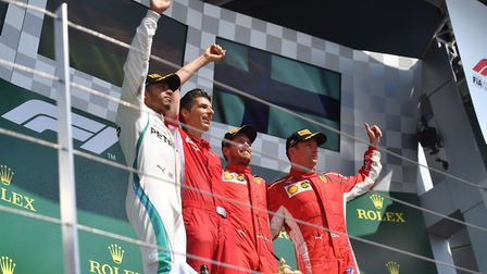 The podium finishers at the 2018 British Grand Prix at Silverstone. Picture: Sean Ramsell.