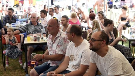 Football fans watching the England game - Hundreds were in attendance at this years Gorefield Beer F