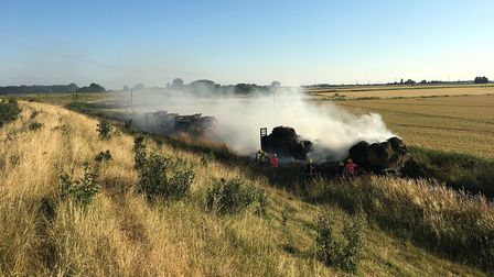 Firefighters were called to Ten Mile Bank on Thursday (July 12) after a trailer – carrying straw bal