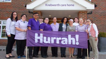 Knebworth Care Home's staff celebrating a positive CQC report. Picture: Knebworth Care Home.