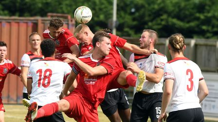 Action from Wisbech Town's pre-season friendly against Kettering Town last Saturday. Picture: IAN CA