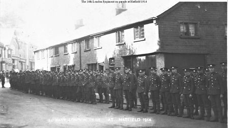 16th Battalion London Regiment Hatfield in 1914. Picture: Supplied by Hatfield Local History Society