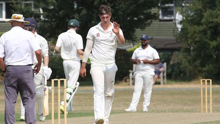 Potters Bar's Luke Chapman prepares to bowl in the match between Letchworth and Potters Bar. Picture