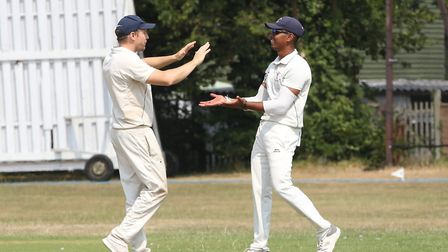 Potters Bar celebrate Letchworth Garden City's Harry Aitkenhead's wicket in the match between Letchw