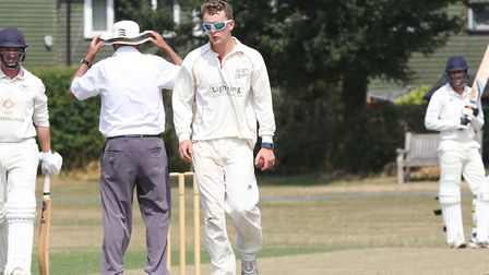 Potters Bar's James Scott prepares to bowl in the match between Letchworth and Potters Bar. Picture: