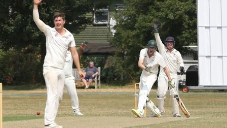 Letchworth Garden City's Harry Aitkenhead survives an LBW shout in the match between Letchworth and