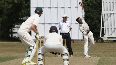 Potters Bar's Thilan Walallawita bowls in the match between Letchworth and Potters Bar. Picture: DAN